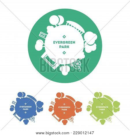 Landscape Park Logo Vector Template. Globe With Trees, Constructions And Activities. Vector Icon, Co