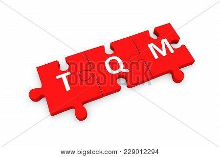 Tqm Puzzle Conceptual White Background 3d Illustration