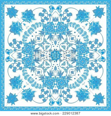 Design For Square Pocket, Shawl, Scarf, Textile. Paisley Floral Pattern. Blue
