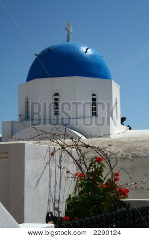 An Orthodox Church Made In A Typical Greek Style Of The Santorini Island
