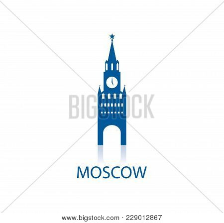 Spasskaya Tower - Symbol Of Moscow. Russian Federation. Vector Illustration
