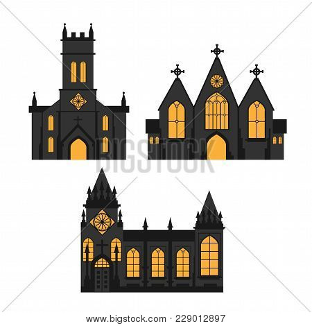 Church Silhouettes On White Background, Icon, Vector