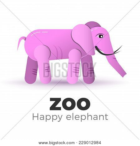 Cute Pink Elephant In Flat Style. Vector Illustration Of African Mammal. Logo Template Or An Image F