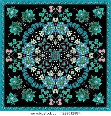 Design For Square Pocket, Shawl, Scarf, Textile. Paisley Floral Pattern. Blue On Black
