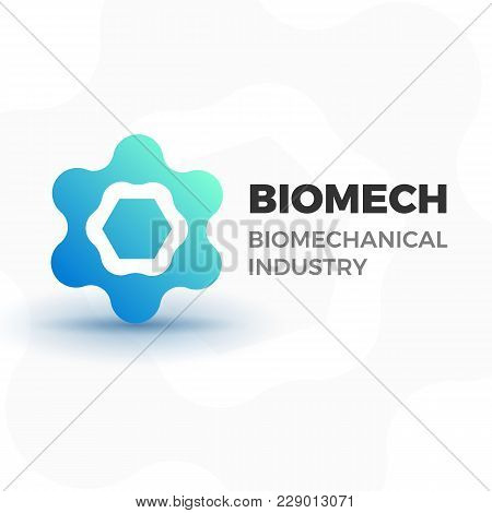 Abstract Biotech Business Logo Template. Vector Logotype Illustration Of Organic Molecule Or Atom Fo