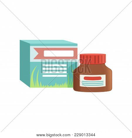 Small Jar Of Ointment With Box, Remedy For Cold Treatment Vector Illustration Isolated On A White Ba