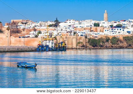River Bou Regreg Seafront And Kasbah In Medina Of Rabat, Morocco. Rabat Is The Capital Of Morocco. R