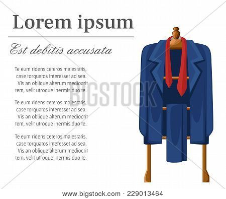 Man Blue Suit With Red Tie On Wooden Hanger Vector Illustration With Place For Your Text Isolated On