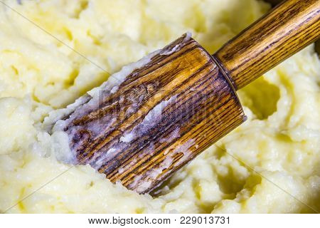 Organic Mashed Potatoes Home-made. Potatoes Are Harvested From The Chernozem Of Russia Is The Most E