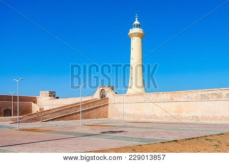 Lighthouse In Rabat Phare De Rabat In Morocco. Lighthouse Is Located Near The Kasbah Of The Udayas A