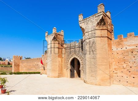 Chellah Entrance Gate. Chellah Is A Medieval Fortified Necropolis Located In Rabat, Morocco. Rabat I