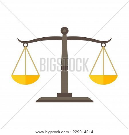 Scales Of Justice Icon. Empty Scales. Law Balance Symbol. Vector Illustration.