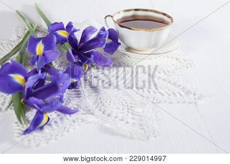 Violet Irises Xiphium -bulbous Iris, Sibirica- With Tea On White Background With Space For Text. Top