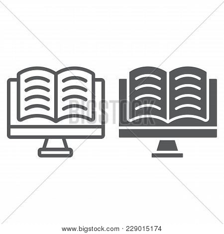 Online Reading Line Glyph Icon, E Learning And Education, Book In Monitor Sign Vector Graphics, A Li