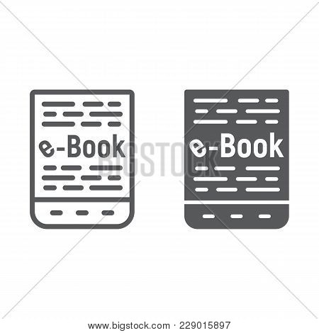 E Book Line And Glyph Icon, E Learning And Education, Tablet Sign Vector Graphics, A Linear Pattern