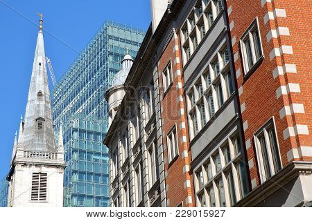 London, Uk - February 25, 2018: Saint Margaret Pattens Church Surrounded By Modern And Old Buildings