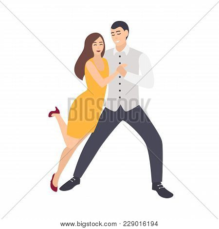 Beautiful Long Haired Woman In Yellow Dress And Elegantly Dressed Man Dancing Salsa. Pair Of Young D