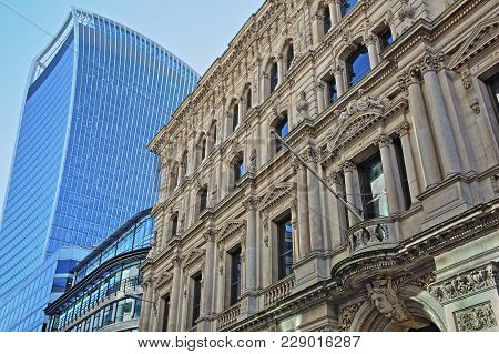 London, Uk - February 25, 2018:  Facade Of A Building On Lombard Street In The Financial District Of