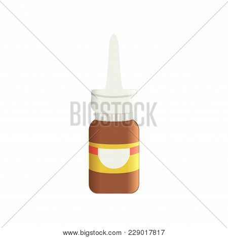 Brown Glass Medical Nasal Antiseptic Spray Bottle, Pharmaceutical Medicament Vector Illustration Iso