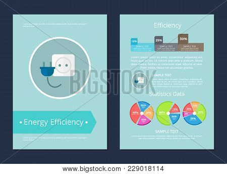 Energy Efficiency Statistics Data Text Sample Card, Vector Illustration With Power Socket And Plug,