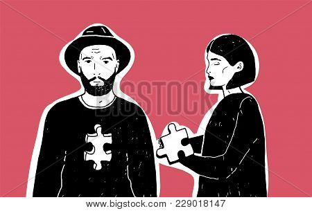 Young Sad Woman Holding Jigsaw Puzzle Piece And Man In Hat With Notch Of Different Shape In His Ches