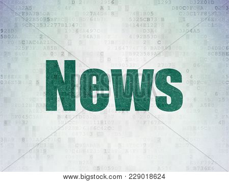 News Concept: Painted Green Word News On Digital Data Paper Background
