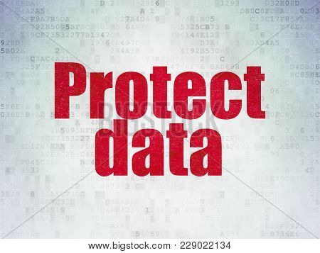 Protection Concept: Painted Red Word Protect Data On Digital Data Paper Background