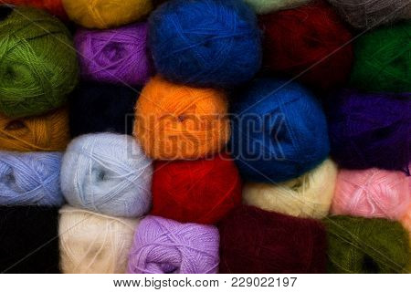 Knitting Needles, Colorful Threads. Knitting Pattern Of Colorful Yarn Wool On Shopfront. Knitting Ba