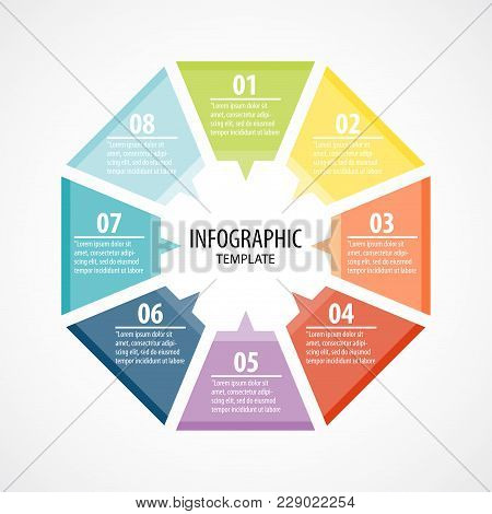 Creative Concept For Infographic With 8 Options, Steps, Processes Of Circle Infographic. Cycle Diagr