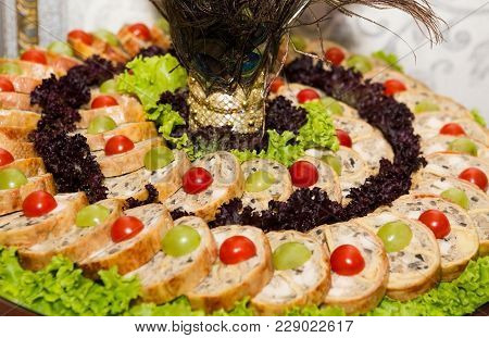 Gefilte Fish With Vegetables On Festive Table. Gefilte Fish On The Plate. Delicious Fish Stuffed Fis
