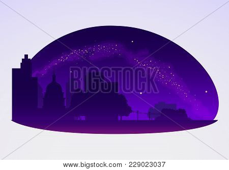 Milky Way Vector Illustration, A Horizon Of A Cityscape With A Beautiful Night Sky With Stars