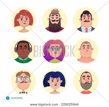 People Avatars Collection.set Of Avatar Icons.different Skin Tones, Clothes And Hair Styles. Modern