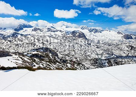 Dachstein Austrian Alps Mountains Aerial Panoramic View From Five Fingers Viewpoint In Salzkammergut