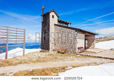 Catholic Cathedral Church Near The 5 Fingers  Viewpoint Platform In The Dachstein Mountains On Mount