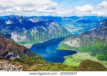 Hallstatter See Lake And Dachstein Austrian Alps Mountains Aerial Panoramic View From Five Fingers V