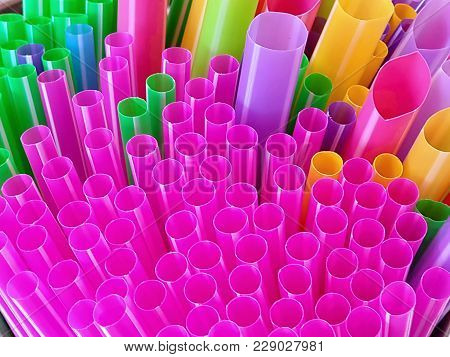 Full Frame Close-up Colorful Plastic Drinking Straws