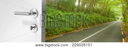 Digital composite of Door opening onto forest road