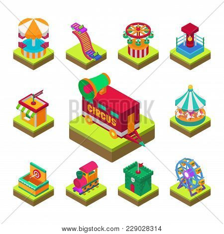 Circus Isometric Tent Marquee With Stripes And Flags Carnival Entertainment Amusement Lelements Flat