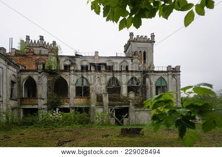 Palace Tereshchenko, Before Grokholsky. Gothic Castle Is In Dilapidated State, Windows Without Glass