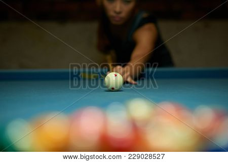 Pool Player Breaking Up Balls, Selective Focus
