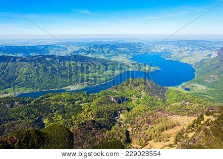 Mondsee Or Moon Lake Aerial Panoramic View From Schafberg Viewpoint, Upper Austria. Mondsee Lake Loc
