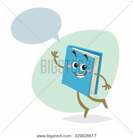 Cartoon Funny Blue Book Mascot On Round Background. Dummy Speech Bubble. Wide Smile Character. Educa
