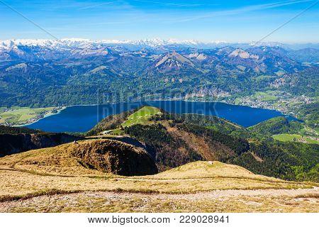 Wolfgangsee Lake Aerial Panoramic View From Schafberg Viewpoint, Upper Austria. Wolfgangsee Lake Loc