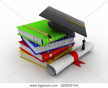 Graduation. Mortarboard, Diploma And Books . 3d Rendered Illustration