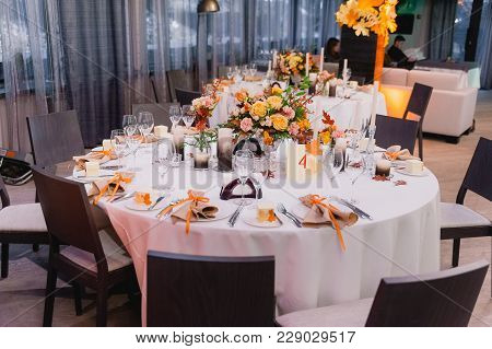 Table Decor With Flowers Table Numbers And Candles