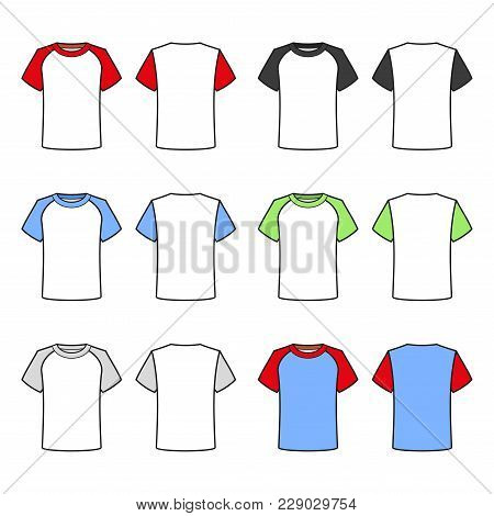 Colored T-shirts Set On White Background. Vector Illustration