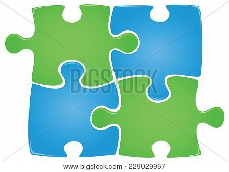 Illustration Of Four Puzzle Pieces. Blue And Green Color Puzzle. Vector.