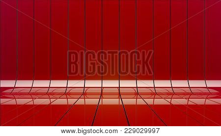 Red Ribbons Stage Background 3d Illustration. Background Stage As Template For Your Showcase.