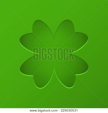 St Patrick's Day Vector Background With Clover. Lucky Spring Symbol. Trendy Paper Cut Style. Cut-out