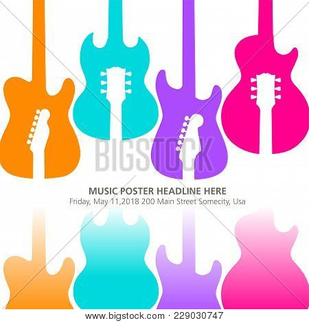 Live Music Poster Template For Concert. Banner With Guitars.  For Print Or Web